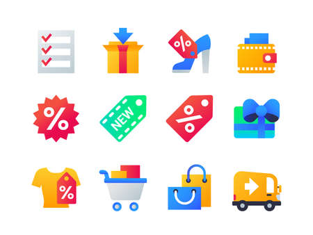 Shopping - set of flat design style icons on white background. High quality bright web elements, images of check list, sale, new and discount labels, cart, delivery, truck, present, bags, box, wallet