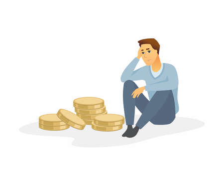 Financial crisis - modern cartoon people character illustration isolated on white background. A composition with a sad man in casual clothes sitting in front of a few coins, thinking over what to do Foto de archivo - 127070013