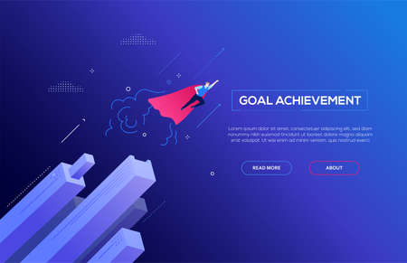 Goal achievement - modern isometric vector web banner  イラスト・ベクター素材