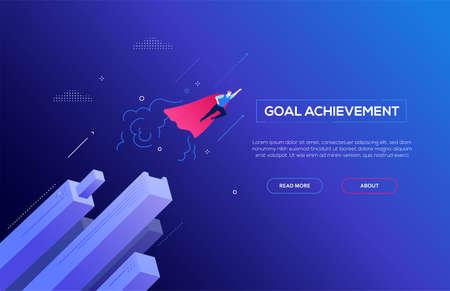 Raggiungimento obiettivo - banner web moderno vettore isometrico