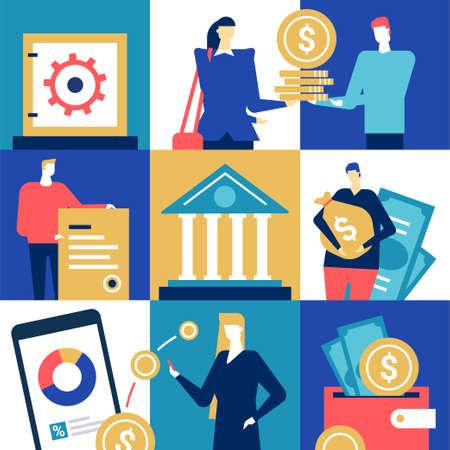 Bank operations - flat design style colorful illustration Stock Photo