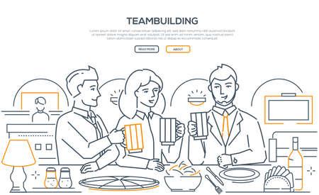 Teambuilding - modern line design style web banner Stockfoto
