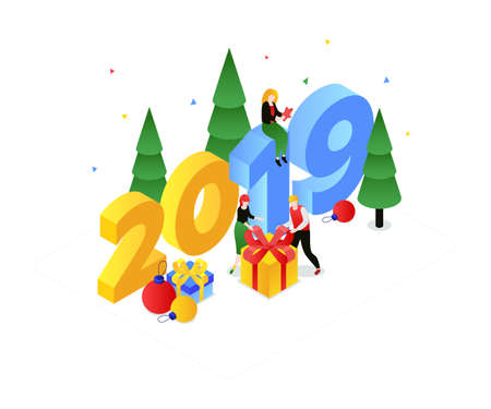 Happy New Year - modern colorful isometric vector illustration Stock fotó