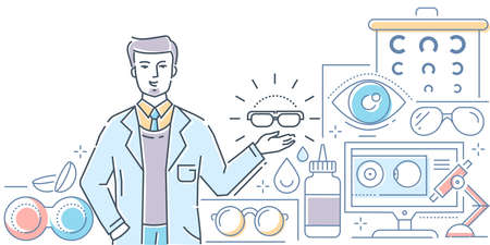 Optics - modern line design style colorful illustration