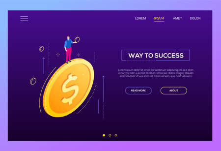 Way to success - modern isometric vector web banner Stock Photo