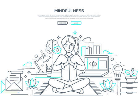 Mindfulness - modern line design style web banner