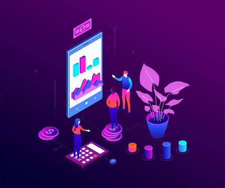 Financial advisor - modern colorful isometric vector illustration
