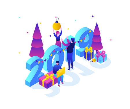 Happy New Year - modern colorful isometric vector illustration Stock Photo