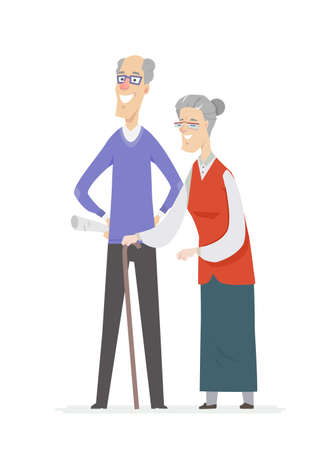 Happy senior couple - cartoon people characters isolated illustration on white background. High quality composition with a smiling elderly man with newspaper, woman wearing glasses walking with a cane Illusztráció