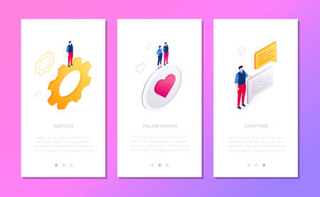 Online services - set of isometric vector vertical web banners with copy space for text. Colorful templates with businessman on gear, like button, dialog boxes. Chatting, dating, settings concepts