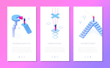 Business situations - set of isometric vector vertical web banners on purple background with copy space for text. Businessman with binocular, diagram sector. Research, leadership, analysis themes 스톡 콘텐츠 - 127032090