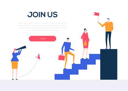 Rejoignez-nous - bannière web colorée de style design plat sur fond blanc avec espace de copie pour le texte. Composition inhabituelle avec des collègues masculins, féminins, le personnel de l'entreprise qui monte les escaliers. Thème de l'équipe créative