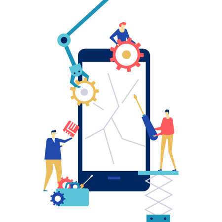 Mobile repair service - flat design style colorful illustration on white background. A composition with workers fixing the cracked smartphone screen, images of mechanic arm, chip, gears, SIM card Иллюстрация