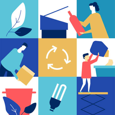 Recycling - flat design style conceptual colorful illustration. High quality composition with family, man, woman, boy sorting waste, throwing litter into bins for glass, paper, lightbulbs. Eco concept Illustration