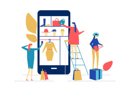 Shopping online - flat design style colorful illustration. High quality composition with cute characters, women buying clothes and accessories, bags, dresses via mobile app, using smartphone 일러스트