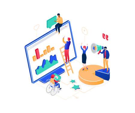 Social media marketing - modern colorful isometric vector illustration