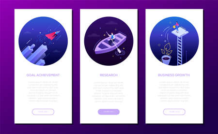 Goal achievement - set of isometric vector vertical web banners