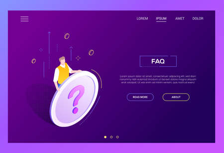 FAQ section - modern isometric vector web banner on white background with copy space for text. High quality image with a man, manager holding a big button with question mark. Perfect for websites