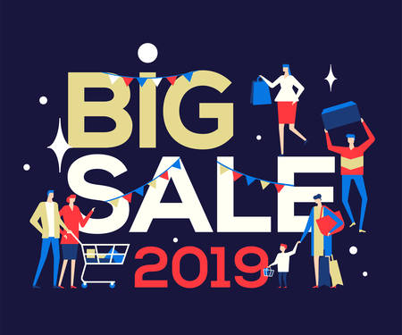 Big Sale 2019 - flat design style colorful illustration