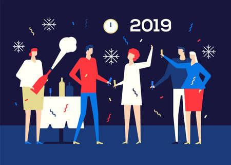 Happy new year 2019 - flat design style illustration
