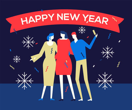 Happy new year 2019 - flat design style illustration. High quality composition with cheerful people, male and friends or colleagues celebrating, opening champagne. Winter holidays, party concept Illustration