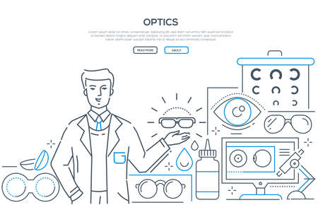 Optics - modern line design style web banner on white background with copy space for text. A composition with a male worker presenting glasses, contact lenses with accessories, eye chart, microscope