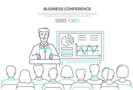 Business conference - modern line design style web banner on white background with copy space for text. An image of businessman speaking in front of the audience, showing diagrams, infographic charts Ilustração