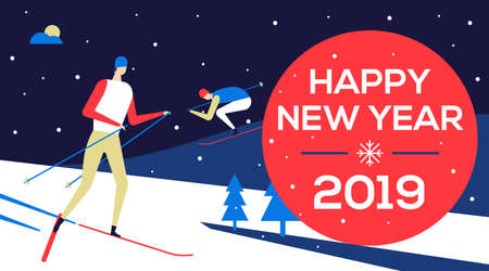 Happy new year 2019 - flat design style illustration