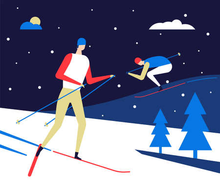 Winter sports, skiing - flat design style colorful illustration