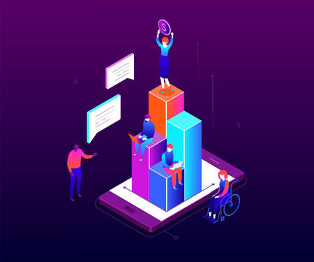 Financial growth - modern colorful isometric vector illustration 스톡 콘텐츠