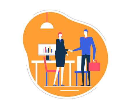 Job interview - flat design style colorful illustration on white background. High quality composition with a female HR specialist, manager shaking hands with a male candidate in the company office