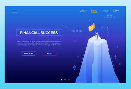 Financial success - modern isometric vector banner on dark blue background. High quality composition with businessman standing on a mountain top, putting a flag with dollar sign. Goal achievement