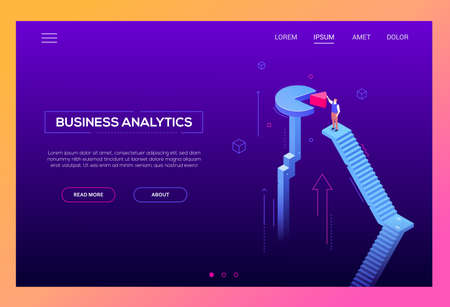 Business analytics - modern isometric vector website header Stock Photo