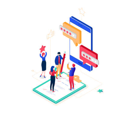 Company testimonials - modern colorful isometric vector illustration on white background. Composition with male, female workers making star rating, comments on smartphone screen. Feedback concept Illustration