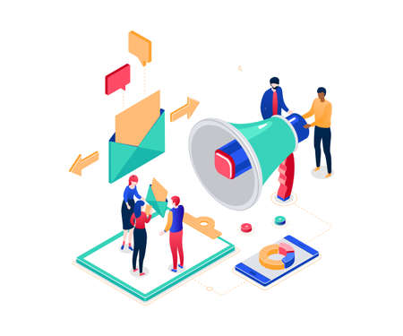 Email marketing - modern colorful isometric vector illustration on white background. Composition with male, female colleagues, business people discussing strategy, images of megaphone, smartphone