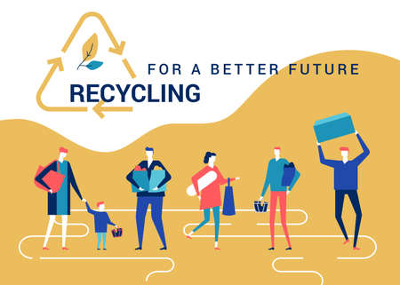 Recycling for a better future - flat design style colorful web banner