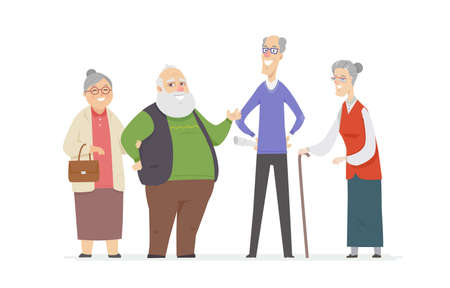Cheerful senior people - set of cartoon characters isolated illustration on white background. High quality composition with two happy couples, smiling grandfathers and grandmothers standing together