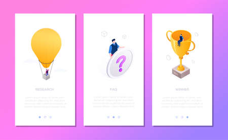 Business situations - set of isometric vector vertical web banners with copy space for text. Templates with businessman on hot air balloon, prize, with question mark sign. Research, FAQ, winner theme Illustration