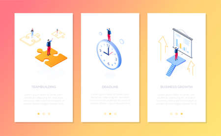 Management - set of isometric vector vertical web banners on yellow background with copy space for text. Businessman on puzzle, clock, showing diagrams. Teambuilding, deadline, business growth concept