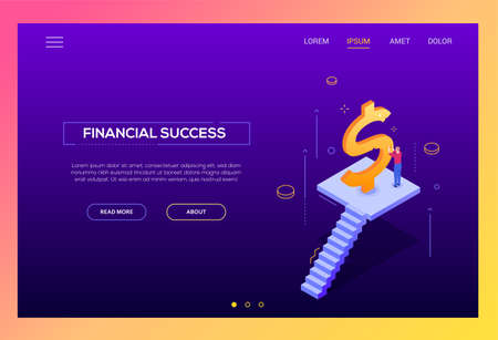 Financial success - modern isometric vector landing page template on purple background with copy space for text. Website header with businessman, manager standing on staircase carving a golden dollar