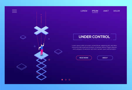 Under control - modern isometric vector website header on purple background with copy space for text. High quality web banner with businessman being a marionette, string puppet. Manipulation concept