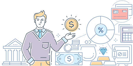 Financial advisor - modern line design style illustration on white background. High quality colorful composition with a young male specialist, assistant, images of bank cards, safe, wallet, coins Illustration