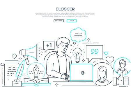 Blogger - modern line design style web banner on white background with copy space for text. Composition with young man broadcasting, working at the laptop, images of lightbulb, megaphone, like buttons Stock Vector - 126857053