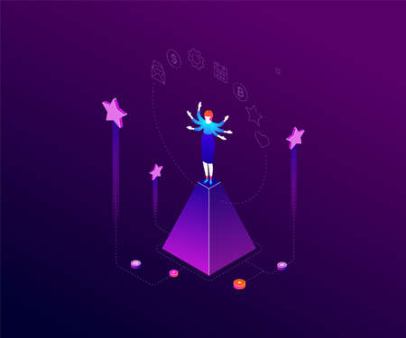 Multitasking concept - modern colorful isometric vector illustration on dark blue background. Composition with businesswoman on a pyramid juggling with tasks, images of calendar, bitcoin, email, gear