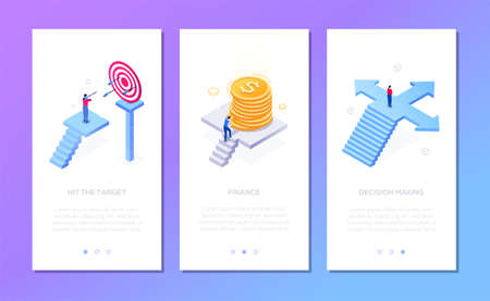 Business and finance - set of isometric vector vertical web banners with copy space for text. Businessman hitting target, with coins stack, on the crossroads. Financial success, decision making theme Çizim
