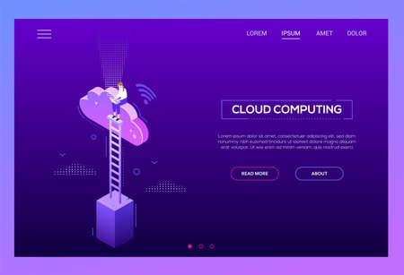 Cloud computing - en-tête de site Web vecteur isométrique moderne
