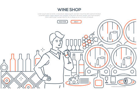 Wine shop - modern line design style web banner on white background with copy space for text. High quality composition with a male assistant holding a glass. Images of barrels, bottles, cheese, grapes