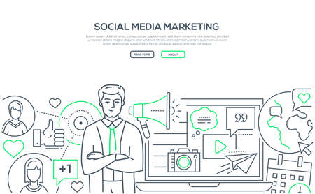 Social media marketing - modern line design style web banner on white background with copy space for text. Composition with male SMM specialist, laptop, globe, megaphone, like buttons, calendar Imagens - 113942446