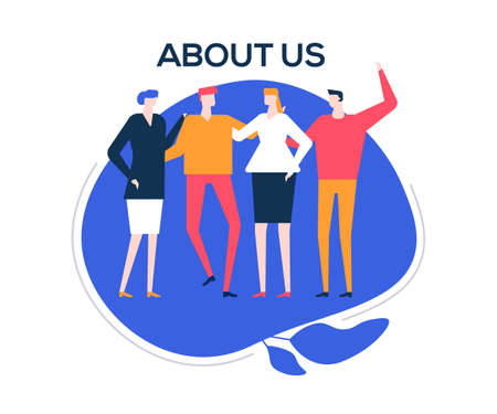 About us - flat design style colorful illustration on white background. High quality composition with happy male, female colleagues, company staff standing together, hugging. Creative team concept Ilustração Vetorial