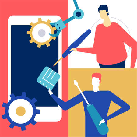 Mobile repair - flat design style colorful illustration. High quality unusual composition with male workers, men fixing the broken smartphone, images of mechanic arm, chip, gears, screwdriver